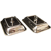 Pair of Georgian Sheffield Silver Plate Entree Dishes With Covers