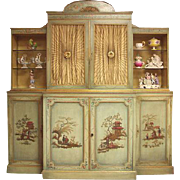 SALE Mid 20th C. China Cupboard Painted in the Chinoiserie Style