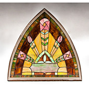 SALE Art Nouveau Stained Glass Panel In Frame
