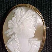 Intricate Antique Shell Cameo 9K Yellow Gold Mount
