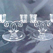 REDUCED Heisey Lariat Elegant Glassware 2 Light Candle Holders Pair