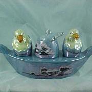 Blue Lustreware Lusterware Souvenir Condiment Boat  Ducks