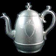 REDUCED Manning's Patent 1862 Britannia Metal Pewter Coffee Pot EX