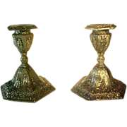 Jennings Bros Dutch Village Pair Silver Plate Candlesticks Candle Holders ca 1890