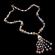 SALE Vintage AB Crystal & Filigree Tassel Necklace