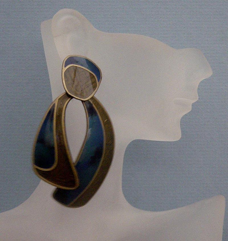 LAST CHANCE!  Vintage BIG, Blue, Edgar Berébi Earrings