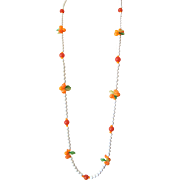 "LAST CHANCE!  ""Milk Glass"" Flapper-Length Necklace: Fruit Salad Style: Hong Kong"