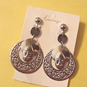 SALE LAST CHANCE! MOC: Large Elzac-Style Tribal Face Earrings: Vintage: New/Old Stock