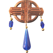 SALE LAST CHANCE!  Large Celtic-Look Brooch: Copper- & Lapis-Colored: Revamped