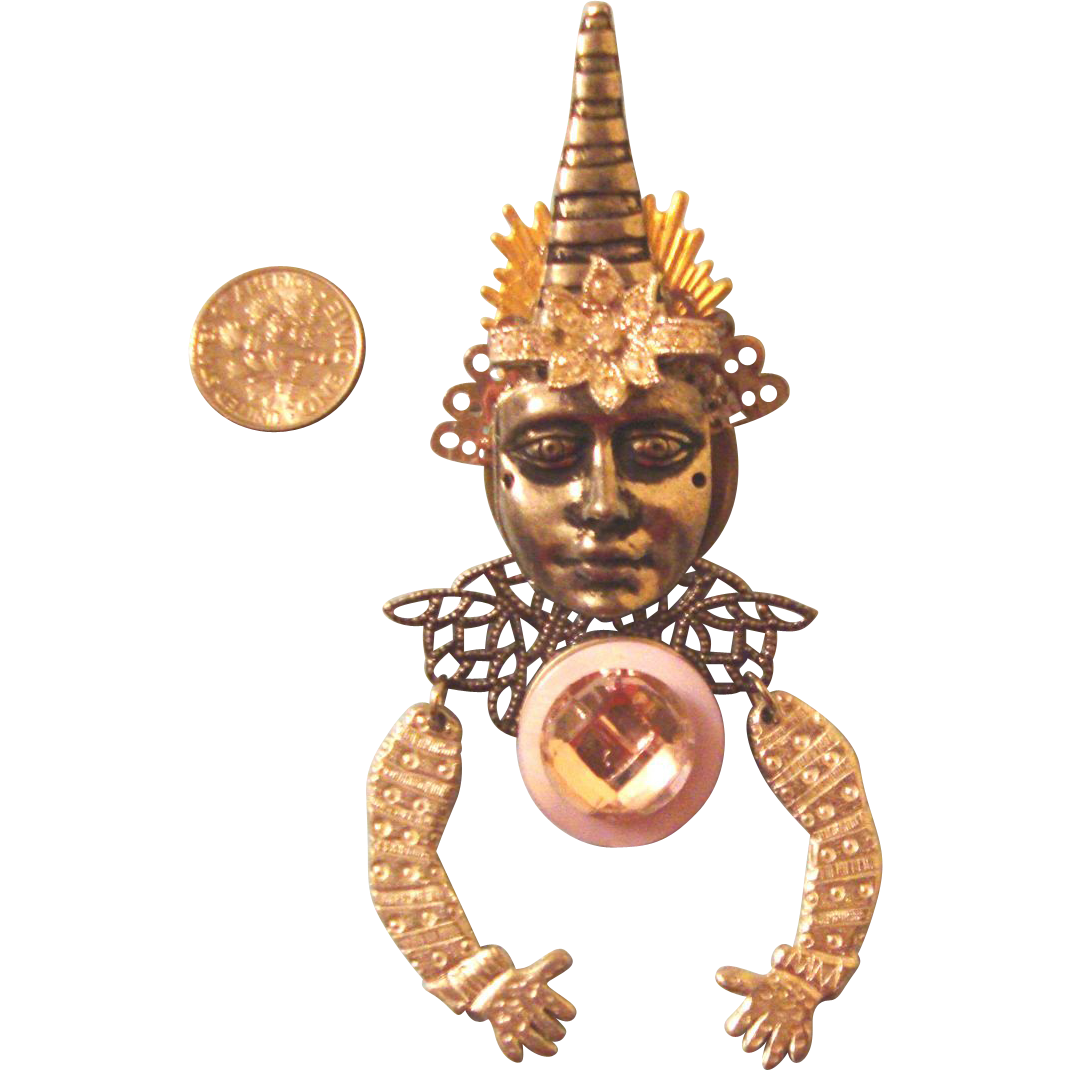 HUGE Thai Dancer Lady Face Brooch: Articulated Pin