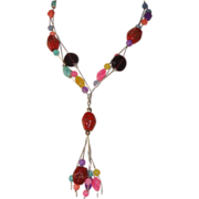 Gorgeous Glass-Beaded Tassel Necklace