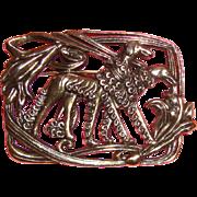 Large Art Deco - Style Greyhound Silvertone Brooch: Signed & Superbly Stylish