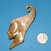 REDUCED M. JENT Lady Face Brooch: Wind-Tunnel Upswept Hairdo