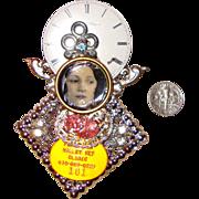 SALE HUGE Lady-Face & Clock Collage Brooch:  OOAK