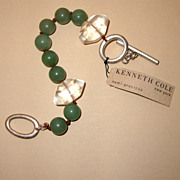 "MWT: KENNETH COLE Jade-Colored & Clear-Glass Bracelet: ""Semi-Precious"" Tag:  New/Old Stock"