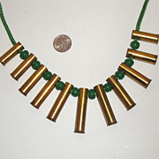 C. 1940s Brass & Emerald-Green Plastic Necklace