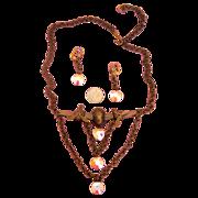 NAPIER Prop Jet Necklace + Earrings: Demi-Parure