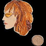 SALE Porcelain FIONA Lady Face Portrait Brooch: Auburn-Haired Beauty