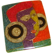 SALE Large Sand-Art, Modernist Lady Face Brooch: From the Philippines