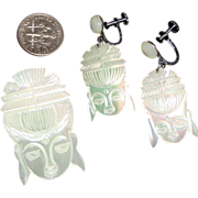 SALE Gleaming Asian Lady Face Demi-Parure:  MOP:  Handmade in Taiwan