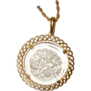 Libra Crown Trifari Reverse-Carved Pendant Necklace: C. 1970s:  Clear Lucite