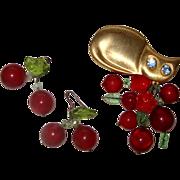 SALE Large Cat & Cherries Demi-Parure:  Brooch & Earrings