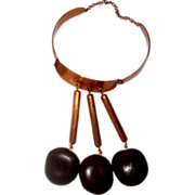 SALE Outré Copper & Wood Collar-Bib Necklace: Huge!