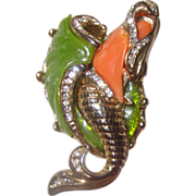 SOLD Iconic Unsigned Hattie Carnegie Mermaid-on-the-Half-Shell Brooch