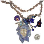 Splendid OOAK Asian Lady-Face Necklace: Glass Beads & Polymer Clay