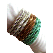SALE Unique 7-Coil Wraparound Mesh Bracelet: Goldtone, White, Seafoam Green