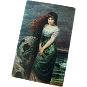 Distressed Lady at Storm-Tossed Ocean: German: From Painting by Prof. G. Papperitz
