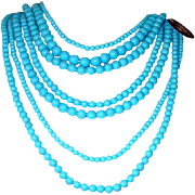 Marvy Multi-Strand Turquoise-Colored Necklace: New/Old Stock: Plastic Fantastic!