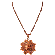 SALE Large Copper Pendant Necklace: Mid-Century