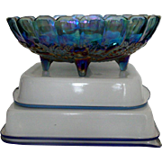 Fabulous Footed Purple Carnival Glass Fruit Bowl: Grapes, Apples, Bananas, et al. Design