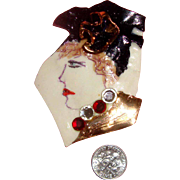 SALE Large OOAK Porcelain 3-D Lady Face Brooch by FIONA