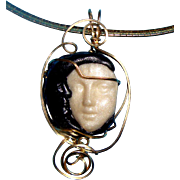 SALE Face Brooch: Sister Sun & Brother Moon Faces Pendant Necklace