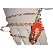 SALE Coral-Colored Panther Face Necklace: New/Old Stock
