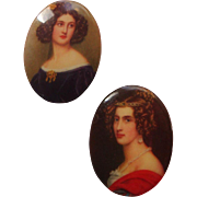 SALE Ceramic Cameo-Style Scatter-Pin Duo: Lady Figurals: Clip Onto a Pearl Necklace!