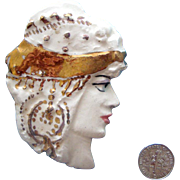 SALE LAST CHANCE! Big Porcelain Lady Face Brooch: Gypsy  or Graeco-Roman: OOAK