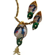 Geisha-Under-Glass Necklace & Earrings:  Asian - Oriental Style