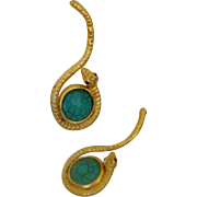 SALE Long Faux-Turquoise & Snake Earrings: Egyptian Revival