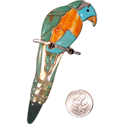 Big, Beauteous Bird Brooch: Inlaid Sterling Silver: Parrot: Southwestern Style: New/Old Stock