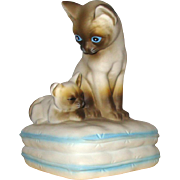 SALE Siamese Mama & Kitten Siamese Cats Music Box: 1982: Made in Japan