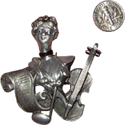 SALE NICE PRICE!  Large AJC Brooch:  Woman, Violin, Sheet Music, Musical Note