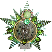 SALE Lady Face on Clock Brooch: Green Tin & Striking Stones