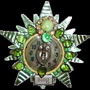 Lady Face on Clock Brooch: Green Tin & Striking Stones