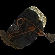 SALE Unique Glitter & Punk Safety-Pin Bracelet:  Leather: Steam Punk