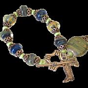 Lemon Chrysoprase & Boro Lampwork Charm Bracelet by Pilula Jula 'Shakin'