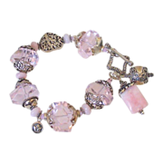 SOLD Pink Peruvian Opal & Mega Nugget Charm Bracelet by Pilula Jula 'Keeps Getting Better'