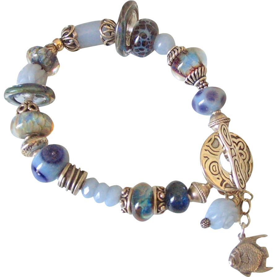 Angelite Boro Angelfish Charm Bracelet by Pilula Jula 'Goin Away Blues'